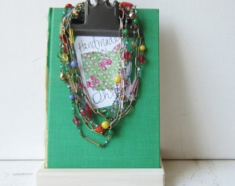 One Petite Clipboard Necklace / Earring Display - Green - Recycled Book - Ready to Ship