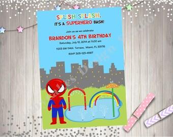 Spiderman Splash Party Invitation Invite Splash Pad Waterpark  Water Park Spiderman Birthday Invitation