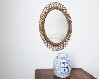 Faux Rattan Mirror