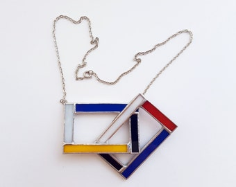 Stained glass pendant-Mondrian-blue-red-black-blue-geometrical-modern-hipster