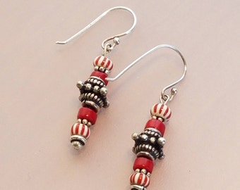 Red and White African Trade Bead Earrings, Sterling Silver Earrings, Boho Earrings, Coral Bead Earrings, Red Earrings, Glass Beaded Earrings