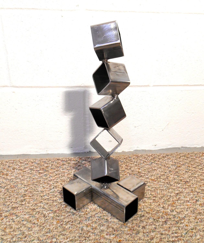 desktop metal sculpture steel cube sculpture modern art - 🔎zoom