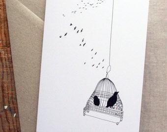 Birds Greeting Card - Illustrated Notecard - Art Card