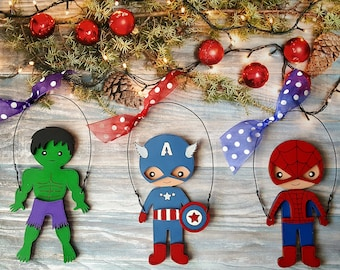 Super Hero Personalized Christmas Ornament, Batman, Superman, Spider Man, Hulk, Iron Man, Captain America