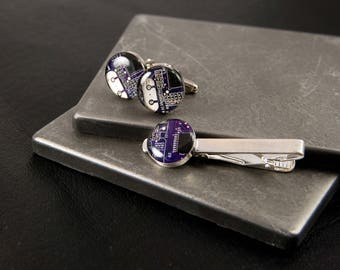 Circuit Board Cufflinks and Tie Bar Set Violet, Wearable Technology, Electrical Engineer Gift, Groomsman Gift, Computer Jewelry, Techie