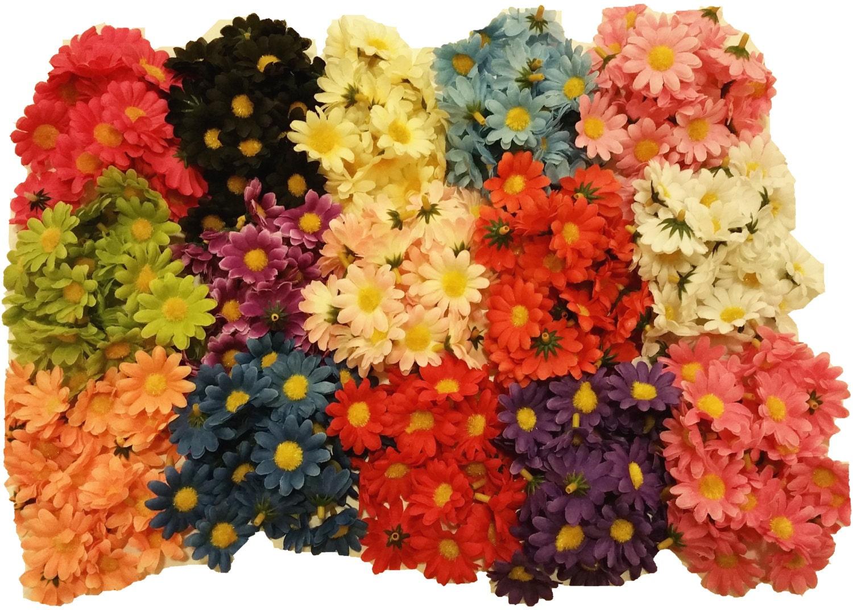 50pcs Mix Mini Daisy Flower Heads 15crafts Hair