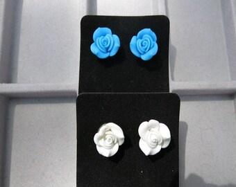 Resin Rose pierced Post Earrings