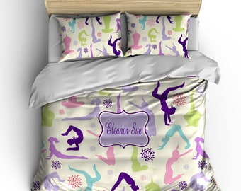 Personalized Custom Bedding Gymnastics - available Toddler, Twin, Full/Queen or King Size