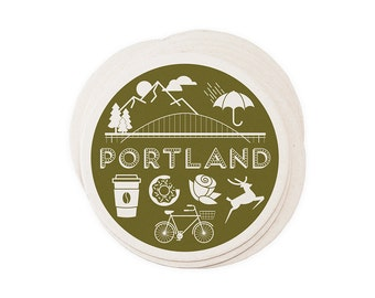 Portland - Letterpressed Paper Coasters