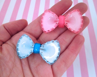 Large Pink and Blue Bow Cabochons, Pick your amount, #467B