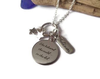 She believed she could so she did 20mm silver tag necklace, university gift, college gift, positive gift, believe necklace, sandykissesuk