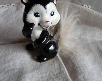 vintage kitsch Skunk Figurine Real Fur Tail