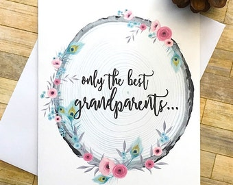 Pregnancy Reveal To Grandparents - Rustic Only the Best Grandparents Get Promoted to Great Grandparents - Floral Rustic Wooden Card - ADELE
