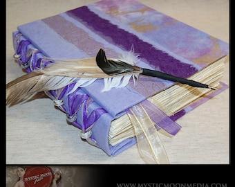 Amethyst Golden /Handmade Journal / Wedding Guest Book / Sketch Book/ Personalized Journal / Book of Shadows / Prayer Book / Quill Pen
