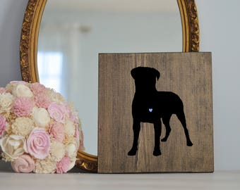 Hand Painted Bullmastiff Silhouette with Heart and Name on Stained Wood, Gift for Dog People, New Puppy Gift, Housewarming Gift