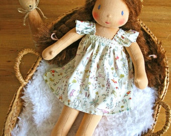 waldorf doll with brown hair and a liberty dress - Custom doll made to order - Doll 35cm / 14 inches
