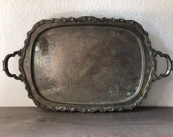 Distressed antique vintage silver plate footed tray, vintage wedding shabby chic, Vintage Hotel Silver, Silver Butler Tray