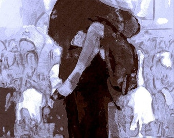 Tango No 1, digital print of tango dancers in rich blues and browns.