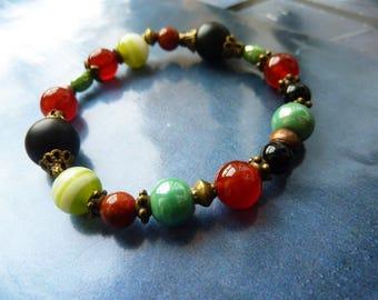 Semi precious stones and glass beaded bracelet