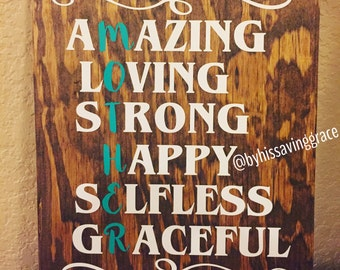 Amazing, Loving, Strong, Happy, Selfless, Graceful MOTHER Sign | Mother's Day Gift | Gift for Mom | Wooden Sign