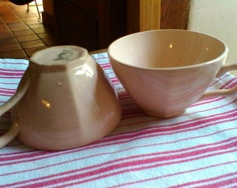 """2 Cups - Vintage French Digoin Sarreguemines """"Calotte""""  tea or coffee cups"""
