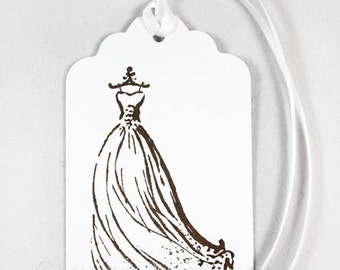 Wedding Dress Tags, Set of 10 Hand Stamped Tags, Wishing Tree Tags, Bridal Shower, Wedding Favor Tags, Gift Tags, Vintage Wedding Gown