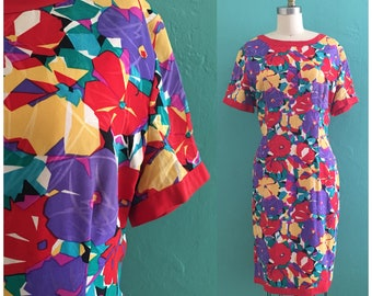 vintage 80's floral print spring dress // silk multi color dress