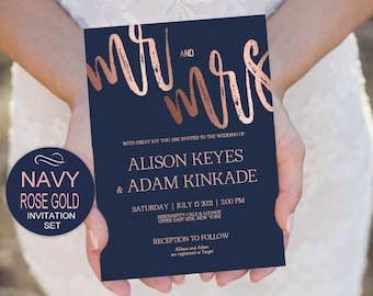 Navy Rose Gold Wedding Invitation Template Set - DIY Printable Invitate Set -PDF-Download Instantly | VRD115ANR