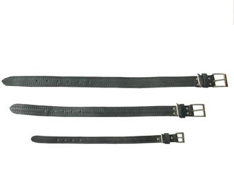 PET COLLAR - stone gray embossed leather