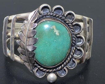 Vintage turquoise and silver southwestern cuff