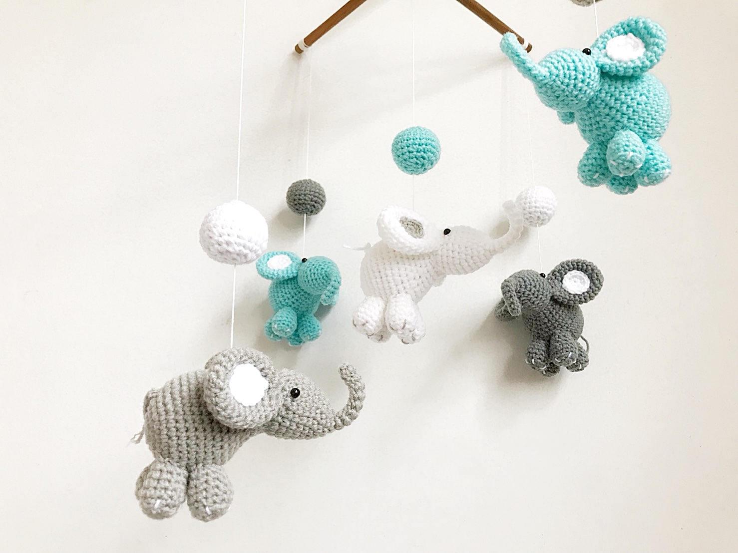 Amigurumi Sheep Baby Mobile : Baby mobile thai elephant crochet baby mobilecrib mobile