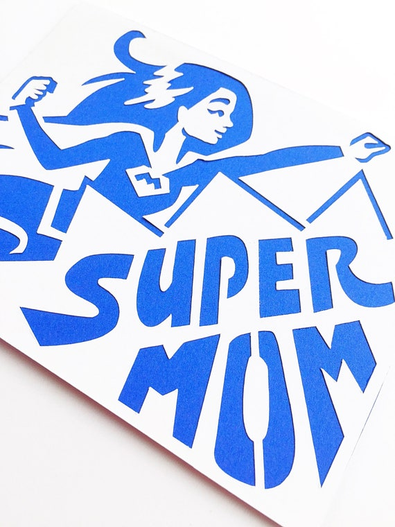 Supermom Mother's Day Card. Superhero Mom Birthday Card. First Mother's Day Card. Supergirl Mommy Notecard. Funny, Cartoon Hero Good Mommy
