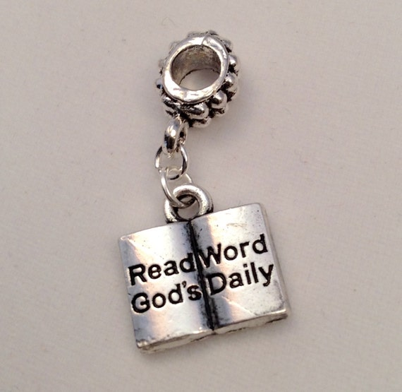 """JW Charm, """"Read God's Word Daily""""  Bible, European Style,  Silver-tone.  Blue velvet gift pouch included. #306"""