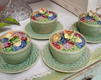 4 Vintage Japan Pottery COVERED DISHES w/ Underplate Soup Butterfly Flowers Basket