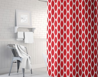 Red Shower Curtain, Bathroom Decor for Women, Ikat Bath Curtain, Girls Bath Decor, Fabric Shower Curtain, Standard or Extra Long