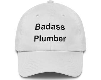 Badass Plumber Hat, Low Profile Embroidered Plumber Cap, Gift From Niece, Gift From Nephew, Plumber Gifts, Funny Plumber Gifts, Plumber Hat