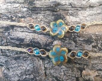 Hemp Flower Friendship Bracelets - Blue