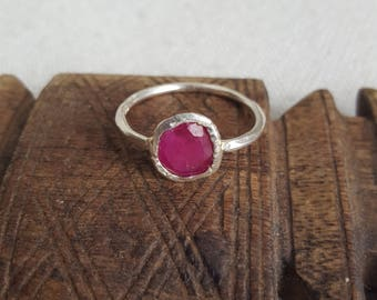 sterling silver ( 925 ) with real ruby