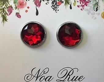 Red Ruby Crystal 12mm Stud Earrings