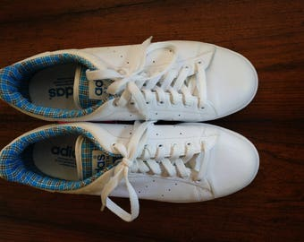 Classic Adidas Stan Smith Court Sneakers With Plaid Accents (10M)
