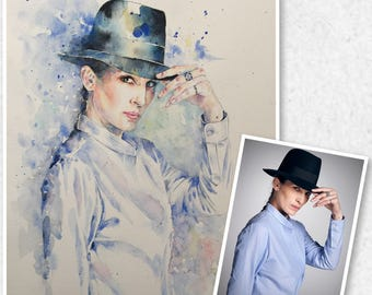 Commission Watercolor Portrait Digital File from your Photo