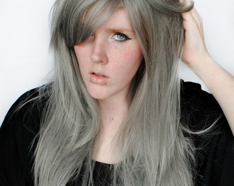 Silver wig, Gray Scene wig, Grey Cosplay wig | Straight Long Layered Wig | Straight Gray Wig | Silver Stars
