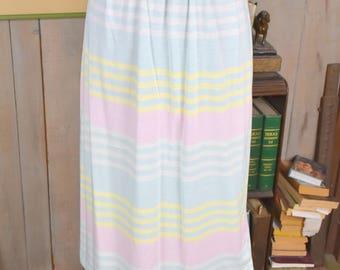 1980s Pastel Stripe Skirt Jantzen | Pastel Blue Yellow Pink | Vintage Skirt | Womens Skirt