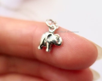 Tiny Elephant Necklace - Solid 925 Sterling Silver Auspicious Feng Shui Charm - Insurance Included