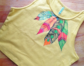 ORIGINAL Crop Top. Feathers. Handpainted. Fashionable and creative. Art to wear. Crop top yellow.