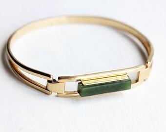 Jade Bar Bracelet, Jade Green Bracelet, Gold Cuff Bracelet, Stone Cuff Bracelet, Small Bar Bracelet, Gold Jade Bracelet