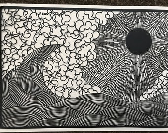 Sun and Sea Papercutting Template Personal Use