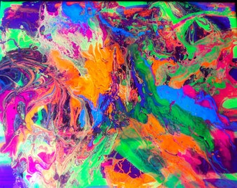 Orange & Yellow Blacklight Resin Fluorescent Neon Acrylic Mixed Media Painting