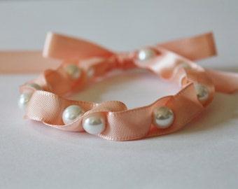 White Pearl and Peach Ribbon Bracelet