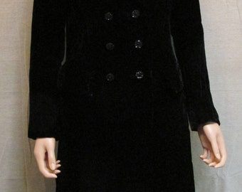 Stunning! Vintage Lord & Taylor Long Black Velvet Double Breasted Dress Coat Union Made In USA Size S/M